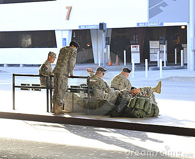 Soldiers returning from Iraq waiting at LAX Editorial Photo