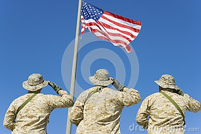 Soldiers Saluting An American Flag