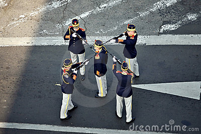 Soldiers stand in formation Editorial Stock Image