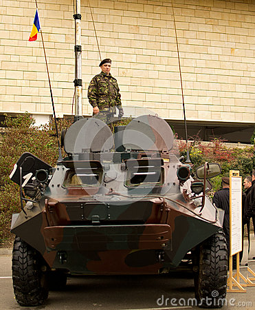 Soldiers on a TAB Armored Personnel Carrier Editorial Stock Image