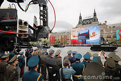 Soldiers and tanks participate in rehearsal Editorial Stock Photo