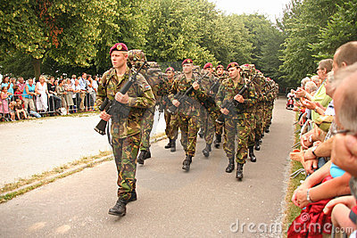 Soldiers on Veterans Day in Holland Editorial Stock Image