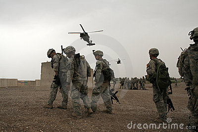 Soldiers wait for Helicopter in Iraq Editorial Photography