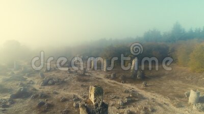 Soldimma över stenskog som kallas pobiti kamani, landmark nära Varna, Bulgarien lager videofilmer