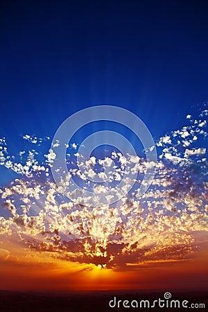 Solemn grandiose sunset on coast