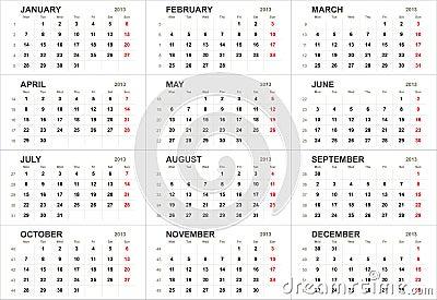 Solid 2013 calendar template