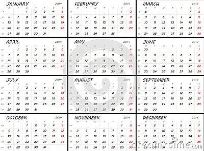 Solid 2014 calendar template