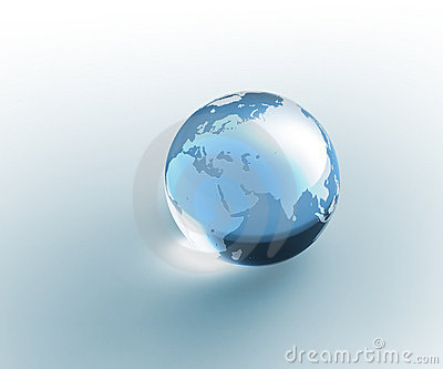 Solid glass globe Earth transparent