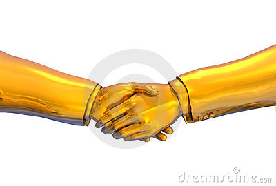 Solid Gold Handshake - with clipping path