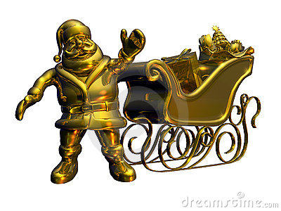Solid Gold Santa - with clipping path