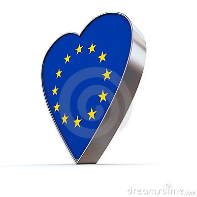 Solid Shiny Metallic Heart -Flag of European Union