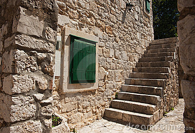Solid Stone wall and steps.