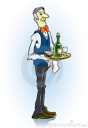 Solid waiter in restaurant with food