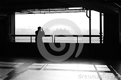 Solitary person black and white stock photo image for Garage a persan