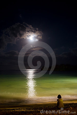 Free Solitude At Night Ocean With Moon Royalty Free Stock Images - 11923119
