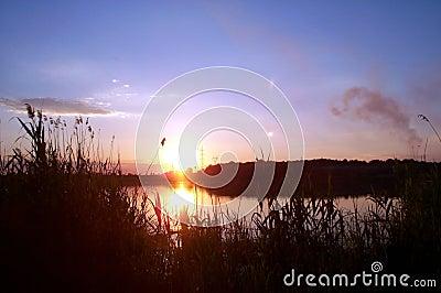 Solnedgång för 2 lake