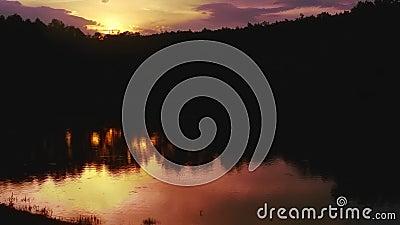 Solnedgång på laken stock video