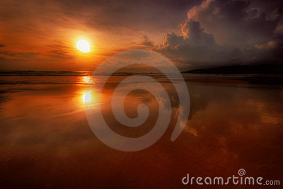 Solnedgång för 3 phuket