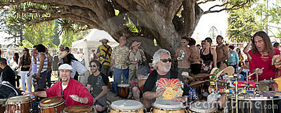 Solstice celebration drummers Editorial Stock Image