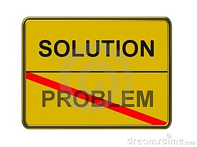 Solution and problem sign