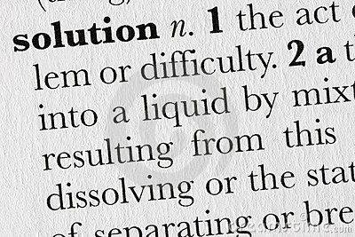 Solution word dictionary defin