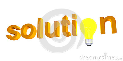 Solution word with light bulb