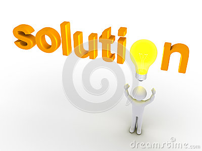 Solution word with light bulb and a person
