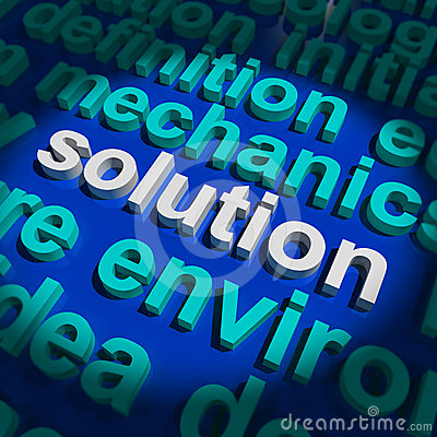 Solution Word Showing Success And Strategy