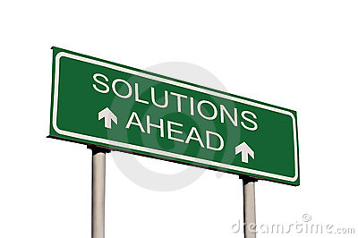 Solutions Ahead Road Sign Isolated