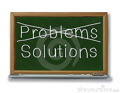 Solutions problems crossed out black board chalk i