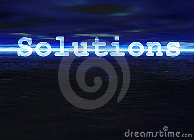 Solutions Text on Blue Bright Ocean Sea Horizon