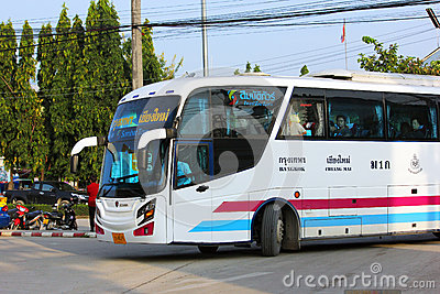 Sombattour. Super longer bus in Thailand Editorial Photo