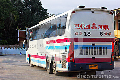 Sombattour. Super longer bus in Thailand Editorial Photography