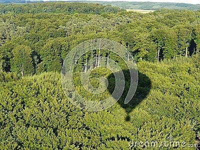 Sombra do balão de ar quente