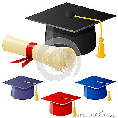 Sombrero y diploma de la graduación