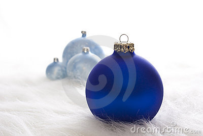 Some blue christmas baubles