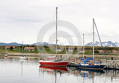 Some boats in port of Ushuaia,