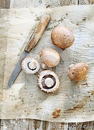 Some brown mushrooms
