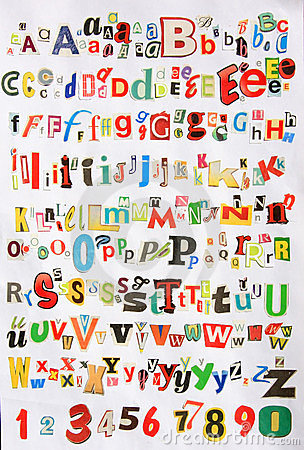 Some colorful newspaper alphabet