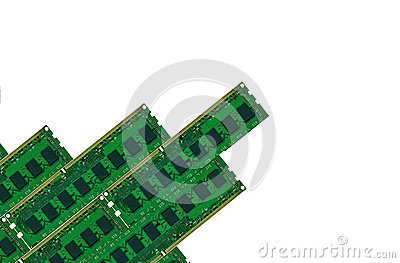 Some computer memory board isolated on white