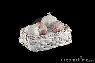 Some fresh garlic in athe basket