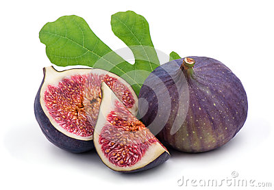 Some fresh,juicy figs with green leaves