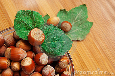 Some hazelnuts in plate
