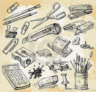 Free Some Office Stuff Hand Drawn Stock Photography - 21446422