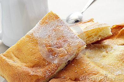 Coca amb sucre, typical catalan cake