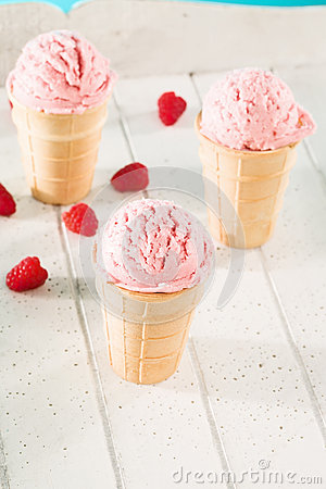 Some raspberry ice cream cones