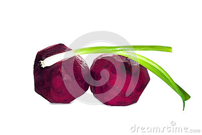 Some vegetables for borscht: beets and green onion isolated on white background