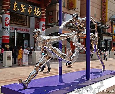 Sommar 2008 för skulpturer för beijing stad olympic Redaktionell Arkivbild
