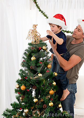 Son decorating the christmas tree with his father
