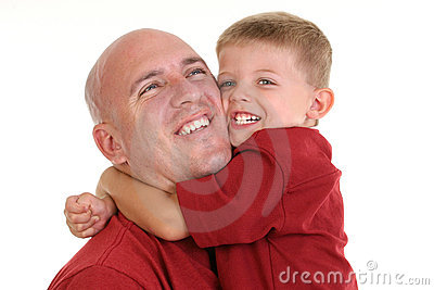 Son Hugging Dad Around the Neck